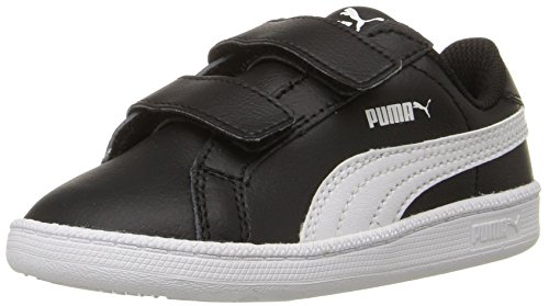 PUMA Boys Smash Fun L V INF Sneaker, Black White, 5 M US Toddler