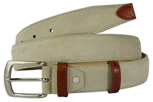 Pasquale Cutarelli Men's Plain Dress Italian Suede Leather Belt Beige 44 Inches
