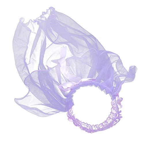 ZUI-R Children Girls Princess Double Layers Tulle Veils Hairband Crown Tiara Rhinestone Headband Lace Up Ribbon Ruffles Wreath Rainbow Flowers Party Headwear,Purple,Veil