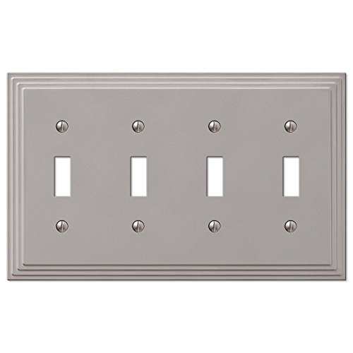 Step Design Four Toggle Wall Switch Plate Cover - Satin Nickel - Light Wall Quad