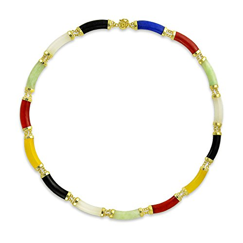 Necklace Multi Color Jade (Mutli Color Jade Link Gold Plated Statement Necklace 17.5 Inches)
