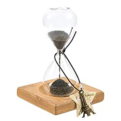 Sand Timer – Hourglass Sand Timer, Sand Timer Durable Glass Black Sand Clock with Wooden Base Stand & Eiffel Tower Charm - 3.1 x 4.7 x 3.1 Inches