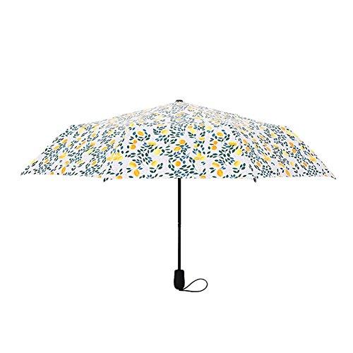 Home-organizer Tech Lemon Tree Pattern Windproof Lightweight Travel Foldable Umbrella (White)
