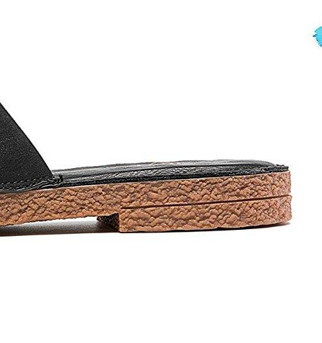 Heel Summer Slippers Black Side and Fashion Low Pinch FFHrwxn5U