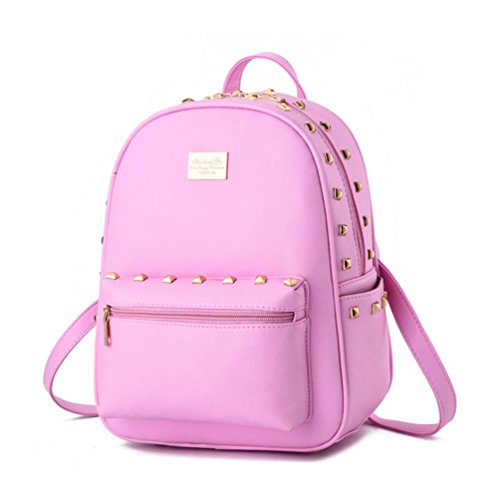 Backpack Daypack Small Pink College Pu Women Xibeitrade Leather 8EqAnc