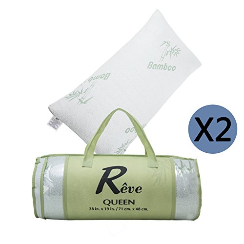 yhg-2x-bamboo-bed-pillow-hotel-memory-foam-hypoallergenic-cool-comfort-w-travel-bag