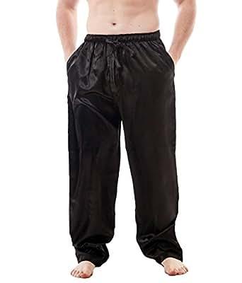 Men's Satin Lounge Pants (Medium, Black)