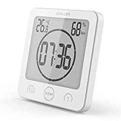 HOPAS Digital Bathroom Shower Wall Clock Timer with Alarm, Waterproof for Water Spray, Touch Screen Timer, Temperature Humidity Display with Suction Cup Hanging Hole (White)