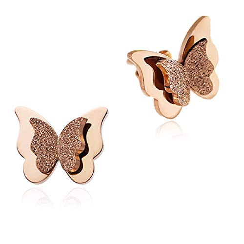 WDSHOW 18k Rose Gold Plated Frosted Stainless Steel Stud Butterfly Earrings for Girl
