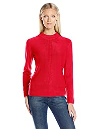 Sag Harbor Women\'s Mock Neck Cashmerlon Sweater with Cable Front Detail, Holly Red, Medium