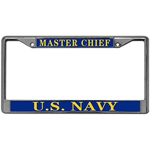 paipaidiedie Luxury Handcrafted License Plate Frame Master Chief US Navy License Plate Frame Stainless Hard License Plate Frame with Mounting Hardware 2 Hole