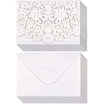 Amazon 24 pack wedding invitation cards laser cut silver 24 pack wedding invitation cards laser cut silver foil and floral design invitation pockets stopboris Image collections
