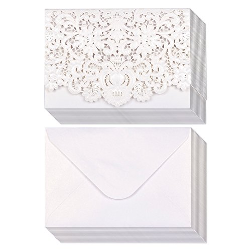 Silver Shimmer Pocket (24-Pack Wedding Invitation Cards - Laser Cut Silver Foil and Floral Design Invitation Pockets for Bridal Showers, Engagement Parties, Includes Covers, Blank Inserts, Envelopes, 5 x 7.25 Inches, Silver)