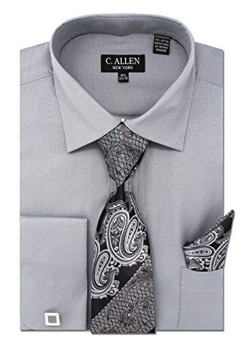 (C. Allen Men's Solid Square Pattern Regular Fit French Cuffs Dress Shirts with Tie Hanky Cufflinks Combo Grey)