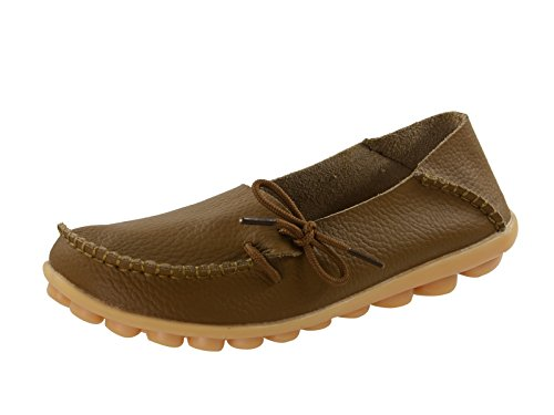 Century Star Women's Casual Cowhide Lace-Up Slip-On Driving Moccasin Loafer Flats Slippers Boat Shoes Camel 7.5 B(M) US