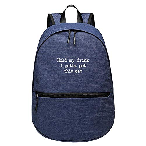 Hold My Drink I Gotta Pet This Cat Backpack School Student Schoolbag Travel Bag (Blue)
