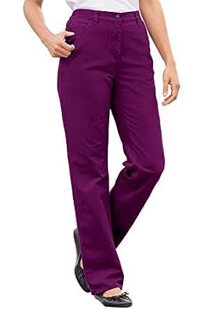 Women's Plus Size Jean, Elastic Back Waist, 5-Pocket Styling Boysenberry,12 W