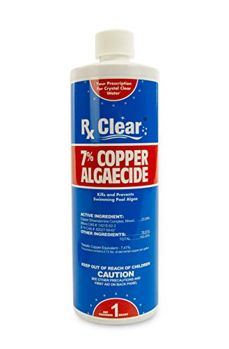 Rx Clear 7% Copper Algaecide | Above or Inground Swimming Pools | Keeping Algae in Suspension | One Quart Bottles | Single Bottle