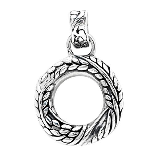 925 Sterling Silver Donut Style Pendant with Chain Rice Motif for Women and Jewelry Gift