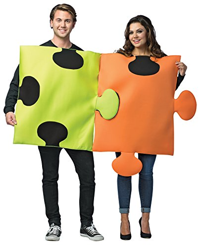 UHC Comical Puzzle Pieces Outfit Funny Theme Party Halloween Couple Costume, (Cheap Funny Couples Halloween Costumes)