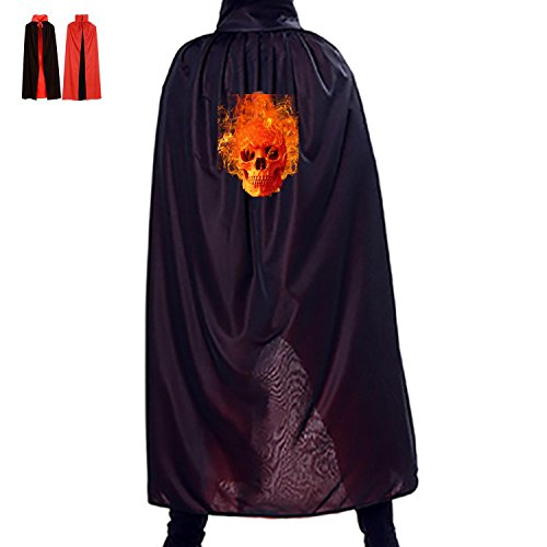 All Saints' Day Wizard Accessory Manteau Reversible Costumes Print With Fire Skull For Children Spoof In Film Premiere (Black)
