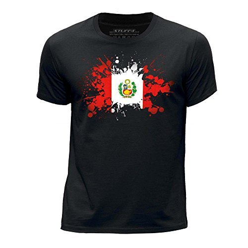 STUFF4-Boys-Age-12-14-152-164cm-Black-Round-Neck-T-ShirtPeruPeruvian-Flag-Splat