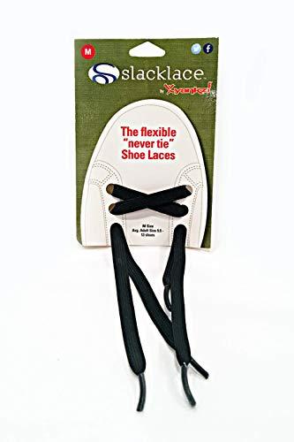 SlackLace - Flat Elastic Shoe Laces - No Lock, No Re-Tie, Black, Large