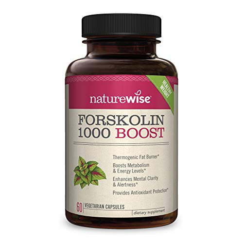 NatureWise Premium Forskolin 1000 Boost | Highest Concentration Pure Active Forskolin for Weight Loss + Natural Fat Burner Blend with Green Tea, Yerba Mate, Guarana, Coleus Forskohlii [1 Month Supply]
