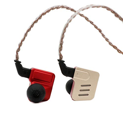 KZ BA10 5BA Balanced Armatures HiFi Stereo in-Ear Earphone IEM with Aluminum Alloy Case, 0.75mm 2 pin Cable (Without Mic, Gold&Red) by KZ