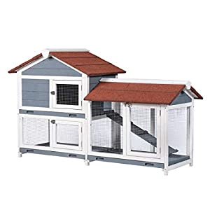 "Good Life Two Floors 62"" Wooden Outdoor Indoor Roof Waterproof Bunny Hutch Rabbit Cage Guinea Pig Coop PET House for Small to Medium Animals with Stairs and Cleaning Tray PET537 47"