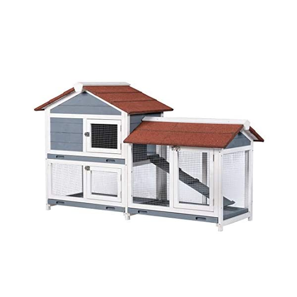 "Good Life Two Floors 62"" Wooden Outdoor Indoor Roof Waterproof Bunny Hutch Rabbit Cage Guinea Pig Coop PET House for Small to Medium Animals with Stairs and Cleaning Tray PET537 1"