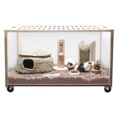 Living World Green Eco Habitat An innovative and spacious indoor cage made of environmentally friendly rubber wood Size L  118.5 x 78.5 x 61 cm (L x W x H)
