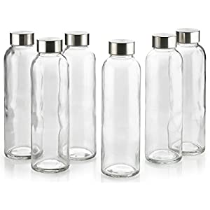 Clear Glass Bottles 18 OZ -6 Pack With Stainless Steel Caps - For Beverage and Juicer Use - Best Reusable Sports Drinking Bottles for Fresh Juices, Juicing, Tea & Bulk Beverages – By Katzco