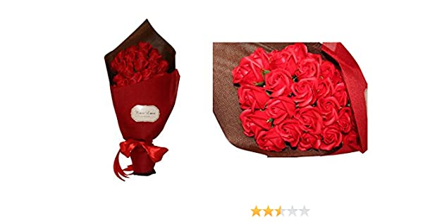 Ramo de 33 flores rojas artificiales, de 45 cm, rosas aromáticas (con aroma), boda de San Valentín.: Amazon.es: Hogar