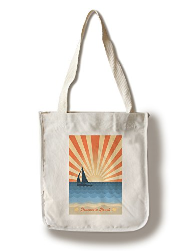 Pensacola, Florida - Beach Scene with Rays and Sailboat (100% Cotton Tote Bag - - Pensacola Florida Shopping