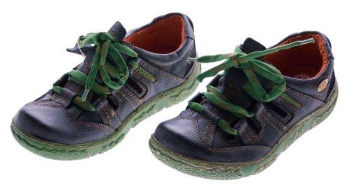 Damen Leder Halb Schuhe Used Look Comfort Sneakers Schwarz TMA Eyes Gr. 37