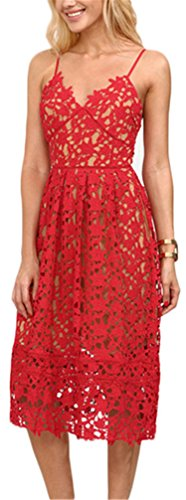 Ladies Hollow Out Fit & Flare Lace Cami Party Dress Backless Plain Spaghetti Strap Sleeveless V Neck Midi A Line Dress Red L