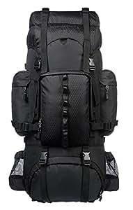 AmazonBasics Internal Frame Hiking Backpack with Rainfly, 65 L, Black