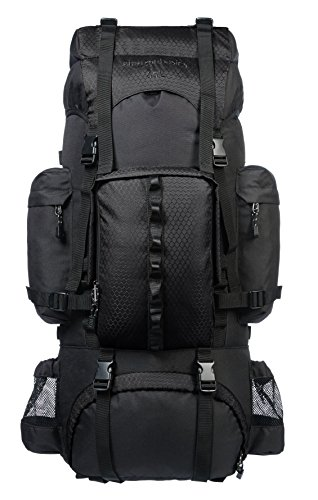 AmazonBasics Internal Frame Hiking Camping Rucksack Backpack with Rainfly - 15.5 x 7 x 32 Inches, 65 Liters, Black