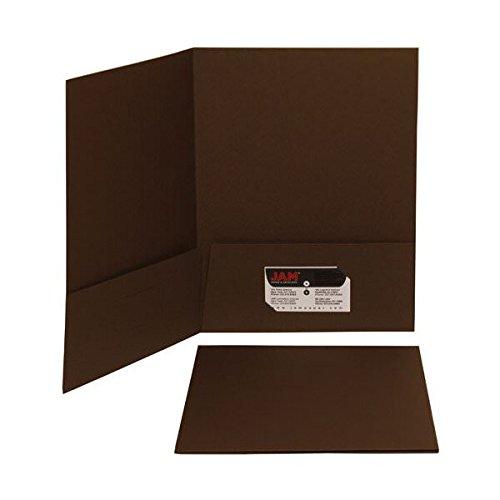 JAM Paper 2 Pocket Matte Cardstock School Presentation Folder - Chocolate Brown - 100/pack by JAM Paper