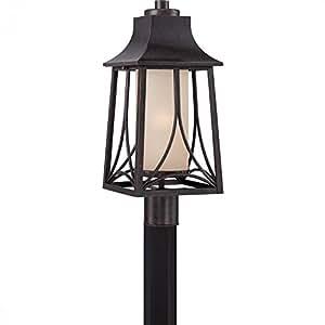 Quoizel Lighting HTR9008IBFL Hunter - One Light Outdoor Post Lantern, Choose Lamping Option: 23W Compact Flourescent-120V