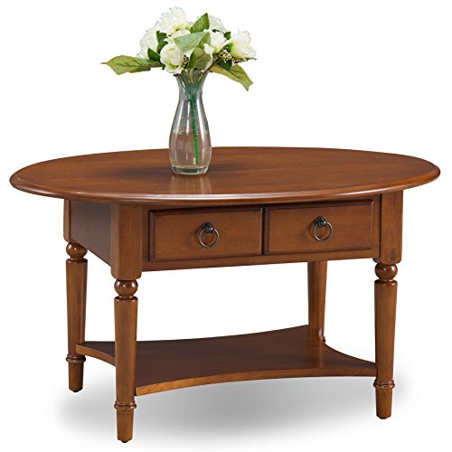 (Leick 20044-PC Coastal Oval Coffee Table with Shelf, Pecan)