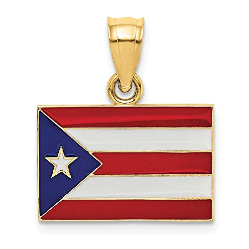 14K Yellow Gold Solid Enameled Puerto Rico Flag Pendant Solid 18 mm 21 mm Pendants & Charms Jewelry ()