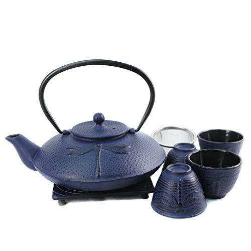 Cuisiland Dragonfly Cast Iron Teapot Set with 4 Cups 37oz Bl