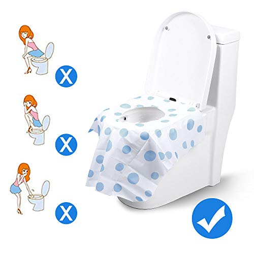 Toilet Seat Covers Disposable, Famard Extra Large Portable Potty Seat Covers for Toddlers, Soft and Waterproof Travel Potty Training Seat for Kids with Individually Wrapped (18 Packs)