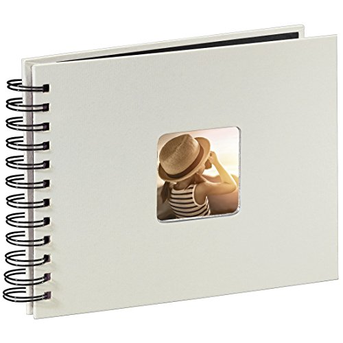 Hama Photo Album with 50 Black Pages 25 Sheets - 24 x 17 cm, with Cut-Out for Insertable Picture Weiß (Schwarze Seiten)