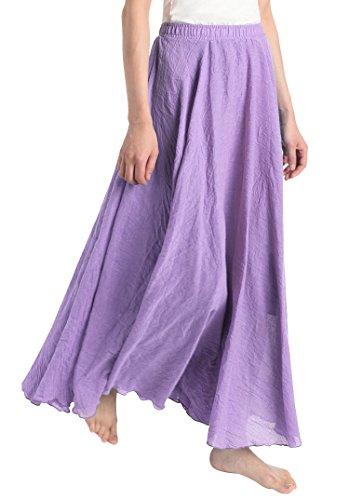 dfbdd97566 Weintee Women's Flowy Solid Ankle-Length Maxi Skirt US(00-16) Violet
