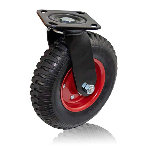Houseables Caster Wheel, Industrial Casters, 8 Inch, 1 Wheel, Red Rim, Rubber, Cast Iron, Large, Heavy Duty Tires, Outdoor, Swivel, Flat Free for Carts, Dolly, Workbench, Trolley ()