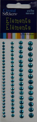 Mark Richards Elements Crystal Stickers 2564 Self-Adhesive 74-Piece Variety Pack Round Rhinestones Crystal Sticker Strips, 3/4/5/6mm, Teal (3/4 Rhinestone)