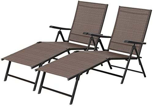 PHI VILLA 5 Stages Adjustable Patio Folding Lounge Chair Metal Outdoor Sling Fabric Recliner Chaise